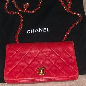 Red Chanel crossbody, has dust bag it came in.